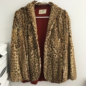 Vintage 50s pinup retro cheetah fur jacket cape